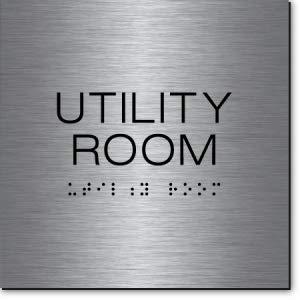 Utility Room Sign Steel//Black 3 Units