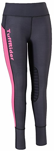 TuffRider Ladies Marathon Tight | Women Horse Riding Equestrian Breeches - Charcoal/NeonPink - X-Large