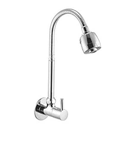 SBD™ Swan Neck 360 Rotating Shower Tap for Kitchen/Bathroom, Table/Deck Mounted Mounted (Big Flexible Neck & Double Flow) (Wall Mounted Cubix)