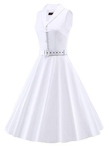 LUOUSE 50s Vestidos Vintage Retro Rockabilly Clásico con cinturón fino V049-Blanco