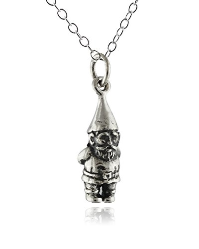 Sterling Silver Tiny 3D Garden Gnome Charm Necklace, 18 Inch Chain