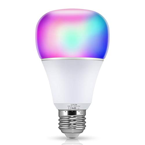 Smart WI-FI LED Light Bulb RGBW Color Changing E26 Base Smart Dimmable Light Bulb Smartphone Controlled Compatible with Alexa/Google Home by LUXON