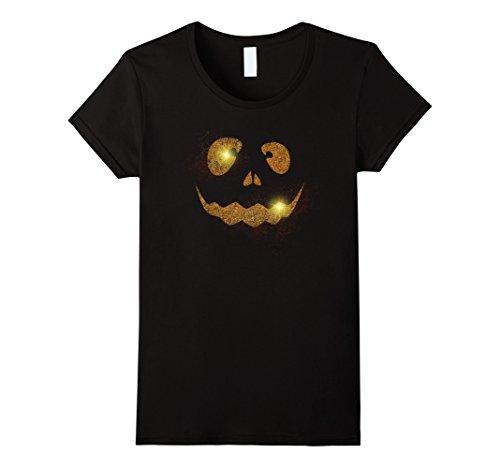 Womens Halloween Pumpkin Scary Face Glitter T-Shirt Large Black