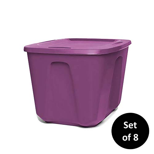 Homz 6618 Plastic Storage Container with Lid, Medium, 18 Gallon, Purple, 8 Sets ()