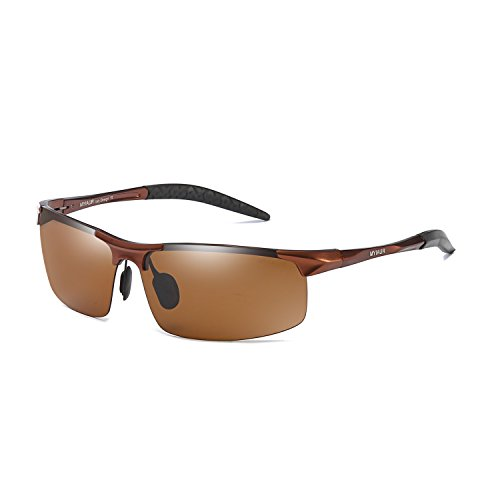 Fashion Hot Polarized Sunglasses for Men Al-Mg Metal Frame UV400 Anti-Glare (brown/ - Ray Sunglasses Burn