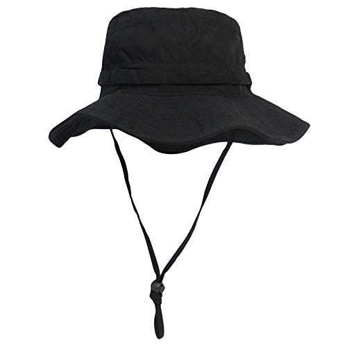 Phaiy Bucket Hat Wide Brim UV Protection Sun Hat Boonie Hats Fishing Hiking Safari Hats for Men and Women Black