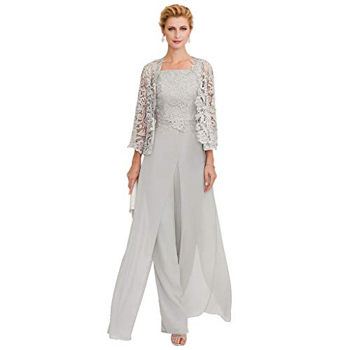 - TS Pantsuit Straps Floor Length Chiffon Corded Lace Split Front Mother of The Bride Dress with Appliques Light Gray