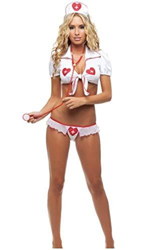 FONDBERYL Disfraces de Enfermera Uniforme Trajes de Las Mujeres Traje del Equipo de Vestido de Lujo de la Ropa Interior del Uniforme de la Enfermera de Sexy Cosplay Atractivo