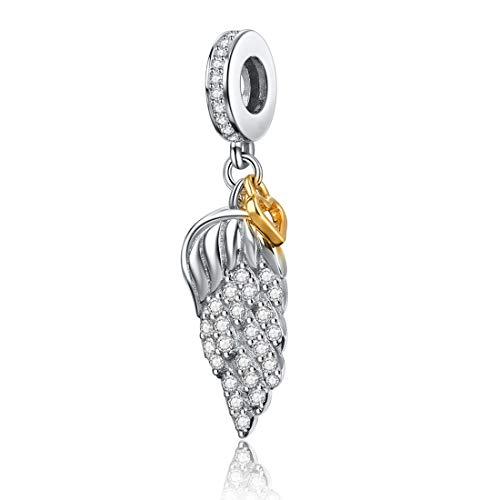 Angel Charm 925 Sterling Silver Feather Wing Pendant Charms with Gold Love Heart Beads Anniversary Charm Fits Women Necklace - Silver Bracelet Charm Angel