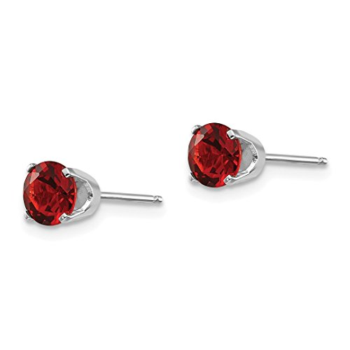 ICE CARATS 14k White Gold 5mm Red Garnet Stud Ball Button Earrings Birthstone January Prong Fine Jewelry Gift Set For Women Heart by ICE CARATS (Image #5)