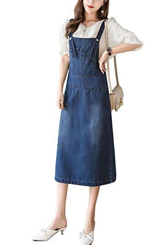 Flygo Womens Back Slit Midi Length Long Denim Jean Jumpers Overall Pinafore Dress Skirt (Large, Blue)
