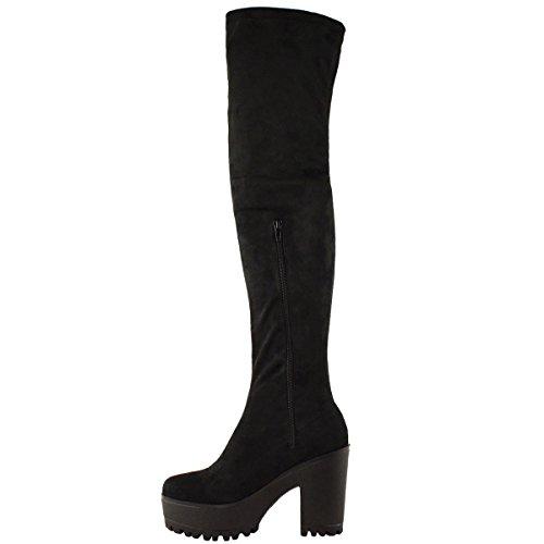 Scarpe Stivali Da Donna Sexy Alti Sopra il Ginocchio Con Plateau - Sintetico, 41, Nero scamosciato