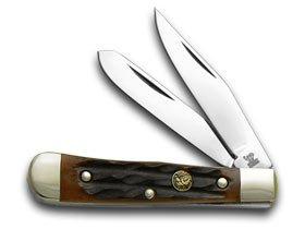 Hen and Rooster Autumn Sun Coast Jigged Bone Tiny Trapper Pocket Knife Knives