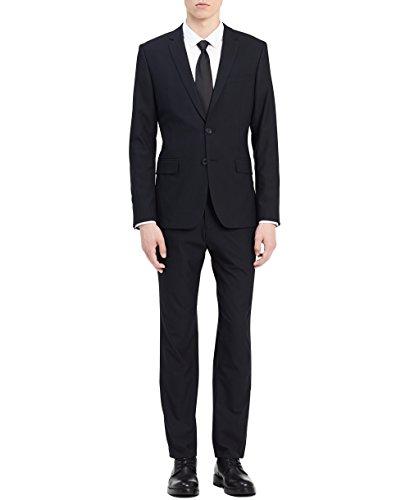 Calvin Klein Men's Infinite Button Notch Fine Cord Stripe Bi-Stretch Jacket, Sky Captain Medium R ()