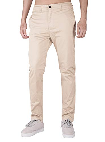 (THE AWOKEN Men's Stretchy Casual Trousers Chino Pants Skinny Style (Cream Khaki, XL))