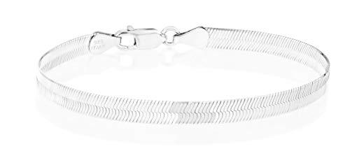 - MiaBella 925 Sterling Silver Italian Solid 4.5mm Flat Herringbone Chain Bracelet Men Women 6.5