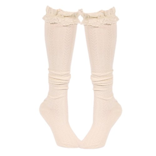Peekaboo-Chic Chunky Cable Knit Boot Socks (cream, adult) Chunky Knit Boot