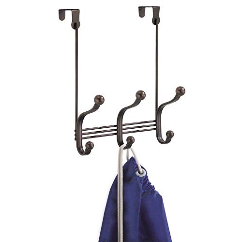 InterDesign York Metal Over the Door Organizer, 3-Hook Rack for Coats, Hats, Robes, Towels, Bedroom, Closet, and Bathroom, 8.38