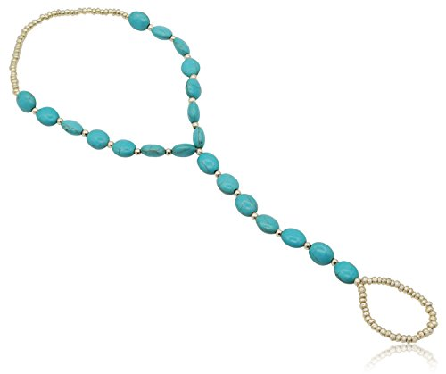 [2 Pcs Women Turquoise Barefoot Anklet Foot Chain Beach Jewelry Boho Anklets Bracelet, Blue] (Labor Day Parade Costumes For Sale)