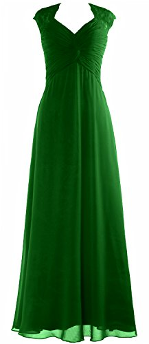 MACloth Women Cap Sleeve Lace Long Prom Dress Chiffon Wedding Party Formal Gown Verde