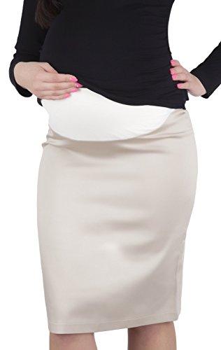 Mija - Elegant Smart Office Maternity Pregnancy skirt 9014 (US 10, Beige)