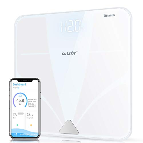 Letsfit Bluetooth Body Fat Scale, Smart Wireless Digital Bathroom Weight Scale, Large Backlit Display Free Smartphone App, Body Composition Analyzer Weight Body Fat BMI Muscle Bone Water Weight (Measure To Body Scale Fat)