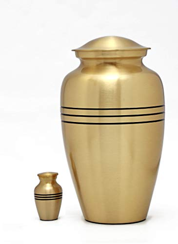 Enshrined Memorials Cremation Urn for Ashes – Zeus Series Affordable Solid Brass Metal Quality Handcrafted for Human Funeral Burial Large 10 inch Keepsake Bundle, Gold Three Stripe Classic