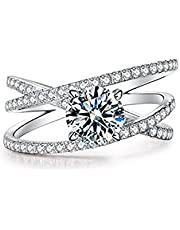 Plated pt950 Platinum Imitation Moissanite Sansheng III D Color 2 Carat Open Engagement Wedding Eternal Diamond Ring for Women