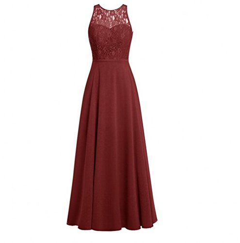 Prom Chiffon Bridesmaid Beauty Women's Long AK Burgundy Crew Dresses Lace Gown Neck qzZX8Tw