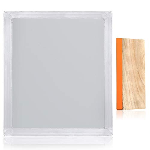 Caydo 1 Piece 20 x 24 Inch Aluminum Silk Screen Printing Frame with 160 White Mesh and 1 Piece 13.7 Inch Screen Printing Squeegee for Screen Printing