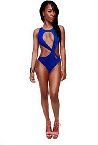 BUSL el color sólido traje de baño bikini traje de baño atractivo. además de fertilizantes Blue