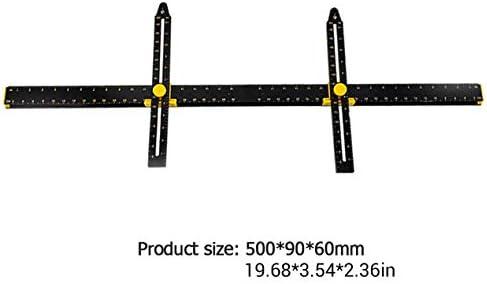 吊り下げ測定マーキング位置パンチングレベルルーラーピクチャーハンギングツール吊り塗装用多機能ゲージ-ブラック