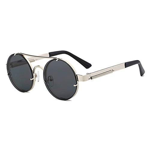 AJIAO Sonnenbrillen Rote Linse Sonnenbrille Männer Runde Vintage Steampunk Sonnenbrille Für Frauen Gold Silber Metall Flat Top Uv400