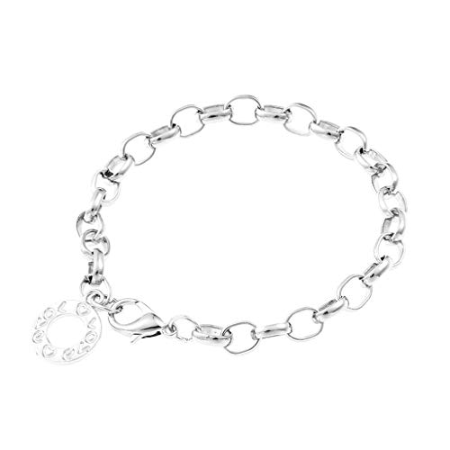 Stylish 1Pcs Lobster Clasps Wrist Bracelet Round Metal Charm jewelry Chain Links Bracelets Women(Silver Color,23cm Length)