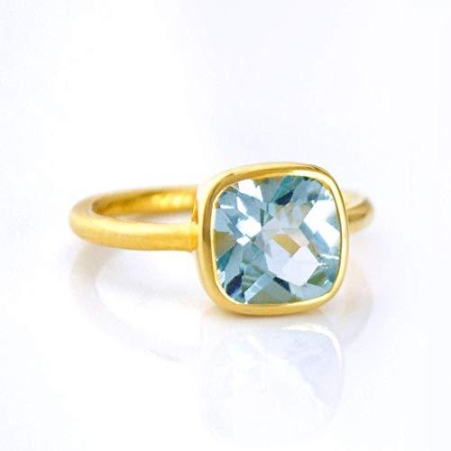 Blue Topaz Cushion Ring, Vermeil Gold or Sterling Silver, December Birthstone - Ring Topaz Vermeil