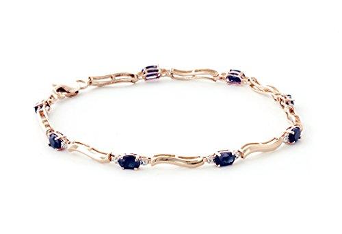 QP joailliers Saphir Naturel Bracelet en or rose 9carats, 2.0-Coupe ovale-4937r