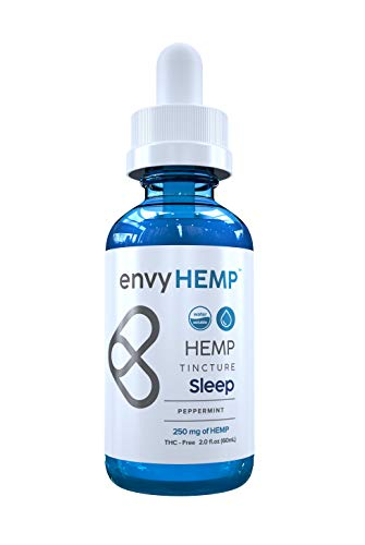 Envy Hemp Sleep Tincture - 250 mg Water Soluble Hemp Oil Sleep Aid w/Melatonin - Sleep Deeply, Relieve Stress and Pain - Organic Naturally Grown Vegan Hemp Isolate - USA Grown - for Daily Use (60mL)
