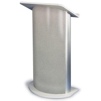 APLSN3125 - Contemporary Curved Lectern Gray Granite with Satin Anodized Aluminum