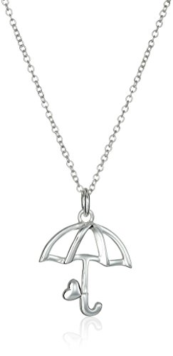 """Disney Sterling Silver Mary Poppins Umbrella with Heart Pendant Necklace, 18"""""""