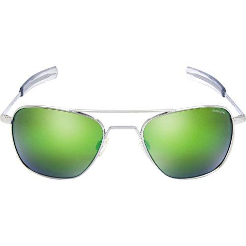 Randolph Unisex Aviator 55mm Bright Chrome/Glass Green Flash Mirror - Aviator Randolph Usa Sunglasses