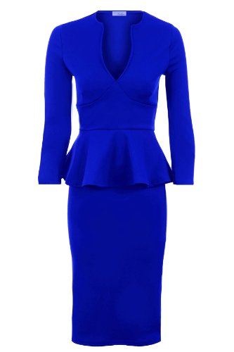 Damen Frauen Knielanges V-Ausschnitt Langarm Schößchenrock Kleid - 38, Königsblau