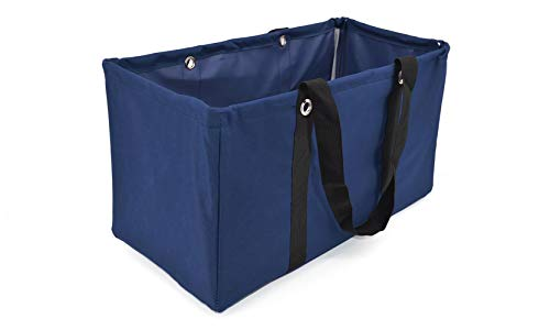 April Fashions All Purpose Open Top Utility Bag, Collapsible Wire Frame Trunk Organizer, Market, (NU-289C Kaline Navy)