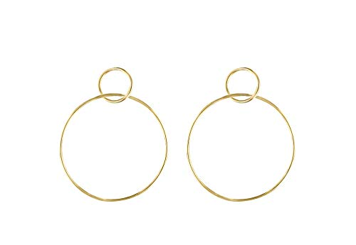 Jules Smith Circle Hoop Earrings - Large Dangle Hoop Earrings for Women - 14k Gold, Rose Gold or Sterling Silver Double Circle Hoop Earrings - Classic Post Hoop Earrings ()