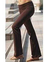 Ladies Lowrise Cotton Lycra Foldover Yoga Pants, Small Brown