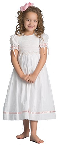 Strasburg Children Girls' Ava Smocked Heirloom Dress Flower Girl White Pink (7) by Strasburg Children