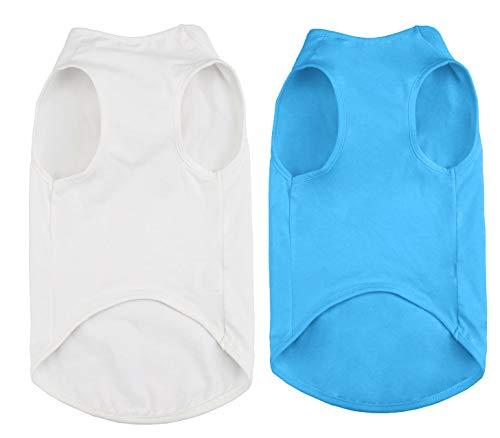 (Uvoguepaw Dog Plain Cotton Shirts for Large Medium Small Pet - Basic Soft Breathable Clothes - 2pcs(White +)