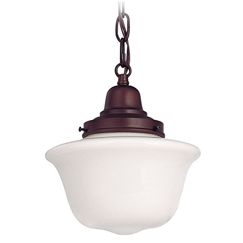 (Bronze 8 Inch Mini Hanging Schoolhouse Pendant Light with Bridlemile Milk Glass Shade and Bronze Finished Chain)