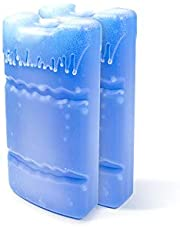 WORLD-BIO Ice Freezer Packs for Lunch Box Cooler, Reusable Cool Refreeze Blocks for Lunch Bags, Keeps Food Cold & Fresh - Great for Kids School Lunch Boxes, Office/Picnic Lunch Set of 2, Blue