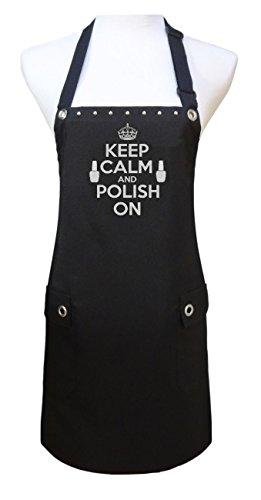 Trendy Salon Aprons Polyurethane Waterproof Nail Tech Manicurist Apron, Keep Calm Polish On (Silver)