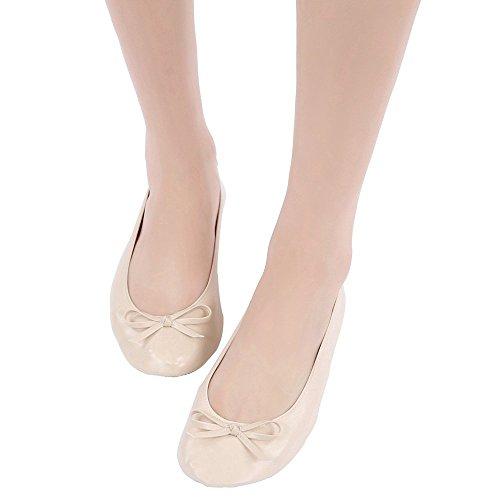 FANCY SHOE LAND Fold up Ballet Pumps Folding Shoe Foldable Shoes Sizes 2.5-11 UK Plus Size up To 42 EU. Large Shoe That Roll up (8-9 UK/41-42 EU/X-Large, Cream)
